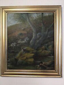 Antique-vintage-Gilt-framed-original-oil-painting-Scottish-highland-moorland