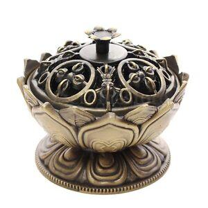 Coppery-Lotus-Cone-Incense-Burner-Holder-Flower-Statue-Censer-Home-Office-Decor