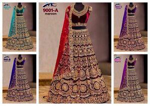 Velvet-Lengha-Choli-Indian-Wedding-Designer-Lehenga-Bollywood-Wear-Bridal-SariMA