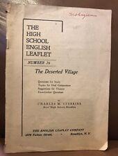 Vintage The High School English Leaflet No.26 The Deserted Villiage