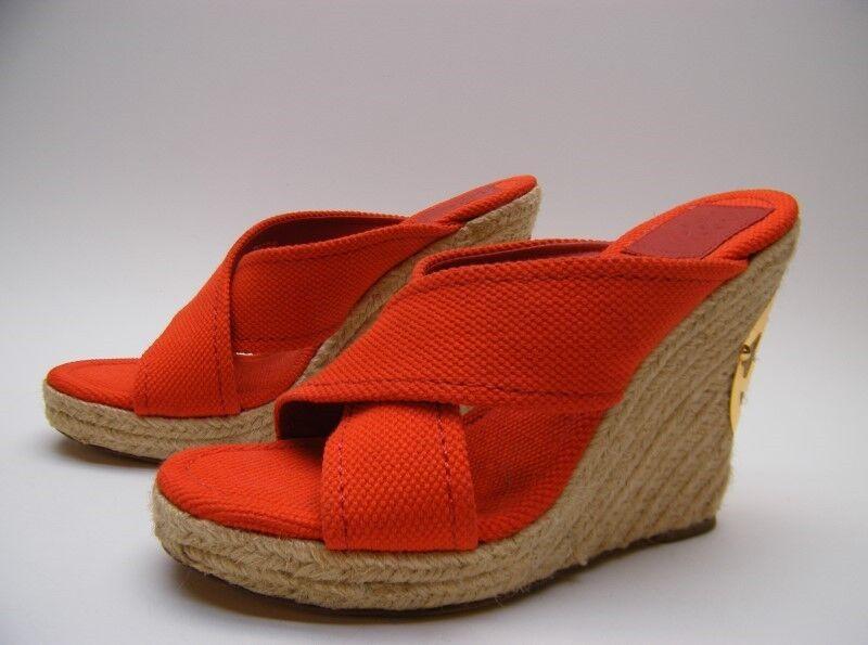 punto vendita donna Tory Burch Espadrilles rosso CANVAS CANVAS CANVAS PLATFORM WEDGE HEEL SANDALS scarpe 7.5 M  stanno facendo attività di sconto