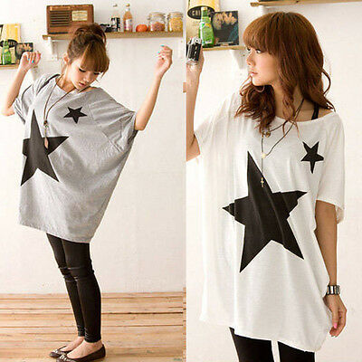 Women Long Loose Batwing Dolman Sleeve T-Shirt Casual Star Blouse Tops Salable