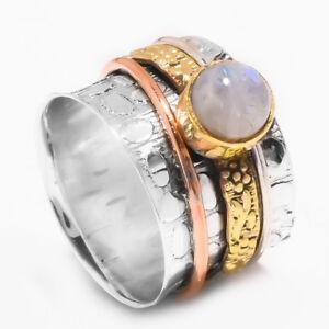 Rainbow-Moonstone-925-Sterling-Silver-Meditation-Statement-Ring-Spinner-Ring-s11