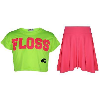 Marchio Di Tendenza Bambine Floss Fashion Crop Top Elegante Neon Verde Top & Gonna Skater Set 5-13-mostra Il Titolo Originale