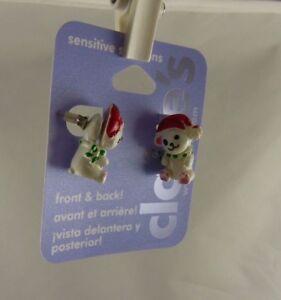 front-back-earrings-Christmas-teddy-bear-wearing-santa-hat