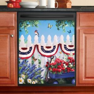 Patriotic-Garden-w-Bunting-Draped-Fence-Scene-Kitchen-Dishwasher-Cover-Magnet