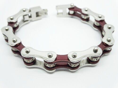New Lady's Maroon & Crystal Stainless Steel Bikers Motorcycle Chain Bracelet