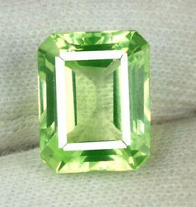 Natural 20.40 Ct Pakistan Peridot Unheated Gemstone Emerald Cut Certified L9828
