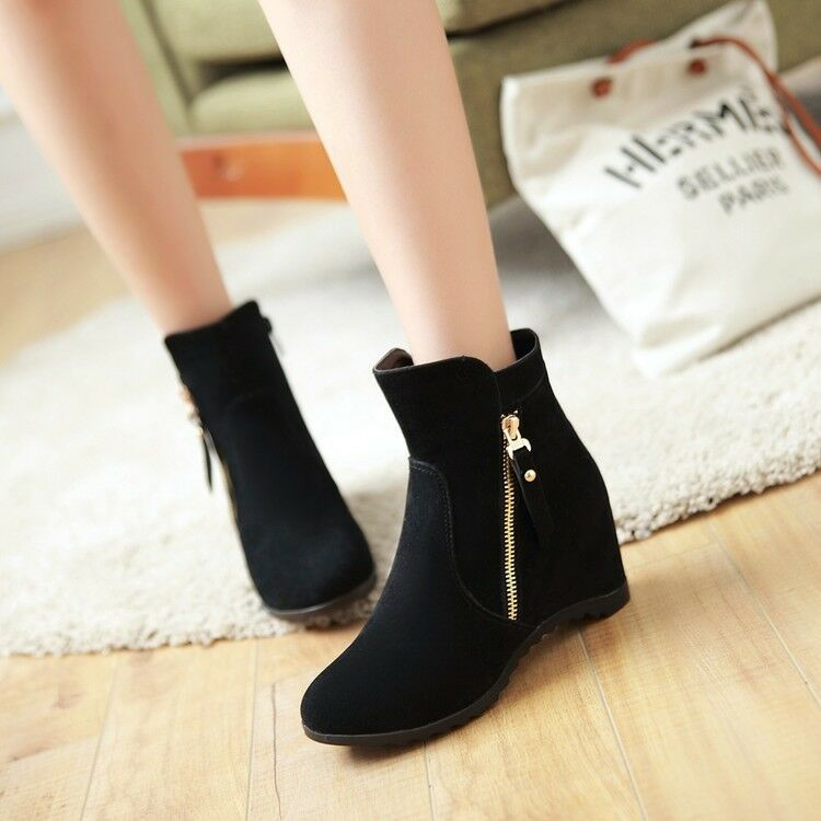 Women Hidden Wedge Heels Ankle Boots Side Zip Suede Ladies Casual Simple Shoes