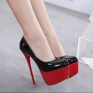 Womens-Stilettos-High-Heels-Patent-Leather-Platform-Slip-On-Pumps-Shoes-Zsell