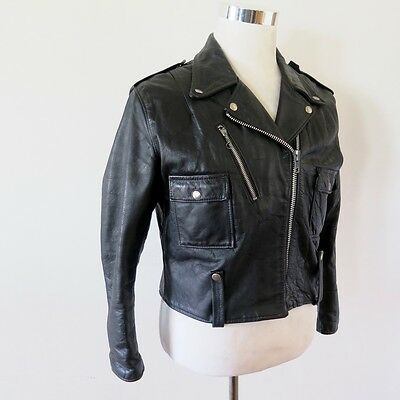 VINTAGE WOMEN HARLEY DAVIDSON AMF CYCLE QUEEN LEATHER JACKET 1970s LARGE / 42