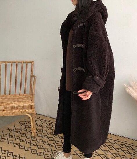 Women Retro Wool Lamb Faux Fur Parka Coats Coats Coats Outwear Long Warm Overcoat Girl Sbox1 ec4625