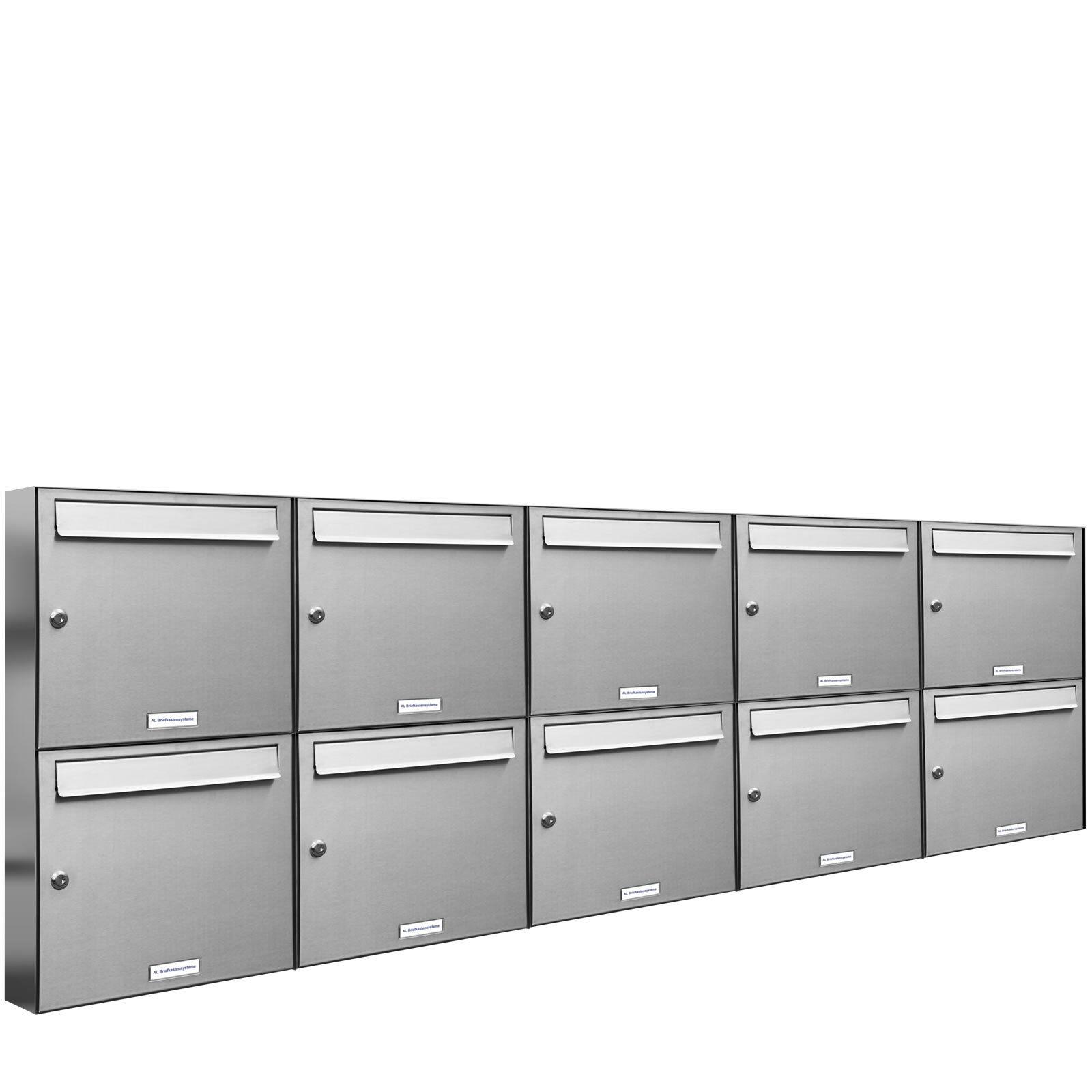 10 er Premium V2A Edelstahl Wand Briefkasten Anlage A4 Postkasten Fach 5x2