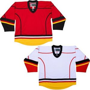 best service 4a52a 2373e Details about Calgary Flames Hockey Jersey NHL Style Replica colors NO LOGO  DJ300