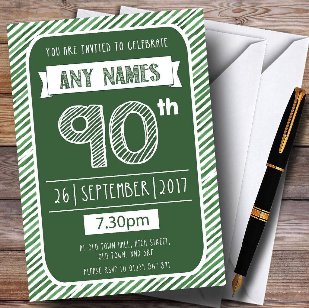 Vert & blanc blanc & rayée deco 90th personnalisé fête d'anniversaire invitations 135242