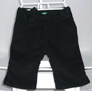 Benetton-Pantalon-velours-noir-fin-fille-9-12-mois