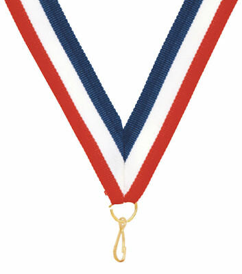 "Medals LOT OF 100 Award NeckRibbon Lanyard 7//8 x 32/"" Red,White,Blue w//Snap Clip"