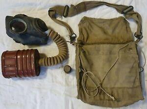 British-WW2-1941-GENUINE-Gas-Mask-Bag-amp-Contents