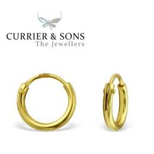9ct Gold Plated 925 Sterling Silver 6mm Small Extra Tiny Hoop Sleeper Earrings N