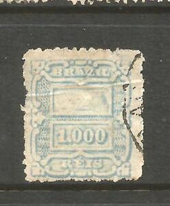BRAZIL 1888 1000r DULL BLUE FU OFFSET BACK Sc 98