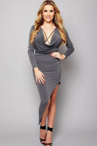 Ladies Womens Party Evening Dress Fitted Pencil Asymmetric Cowl Neck Holiday SZ