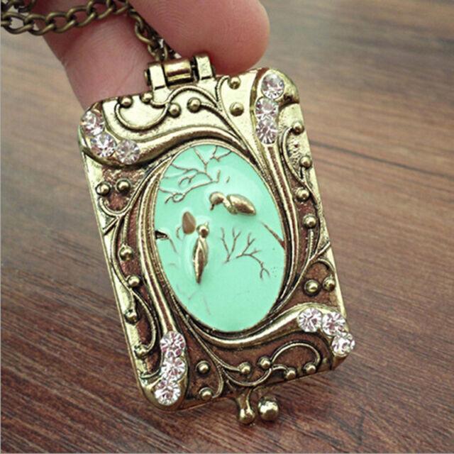 W&T Vintage Copper Flower Rhinestone Bird Locket Pendant Necklace Chain JS