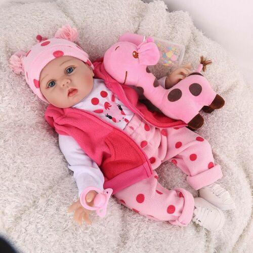 16/'/'  Newborn Full Body Vinyl Silicone Reborn Baby Dolls Handmade Girl Gift