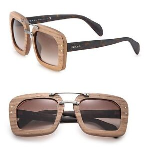 Details About Prada Srp 30r Raw Square Wooden Sunglasses