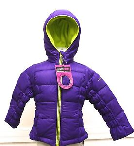 Hawke and Co Sport Girls Winter Coat Purple Green Trim Down Jacket Light Warm