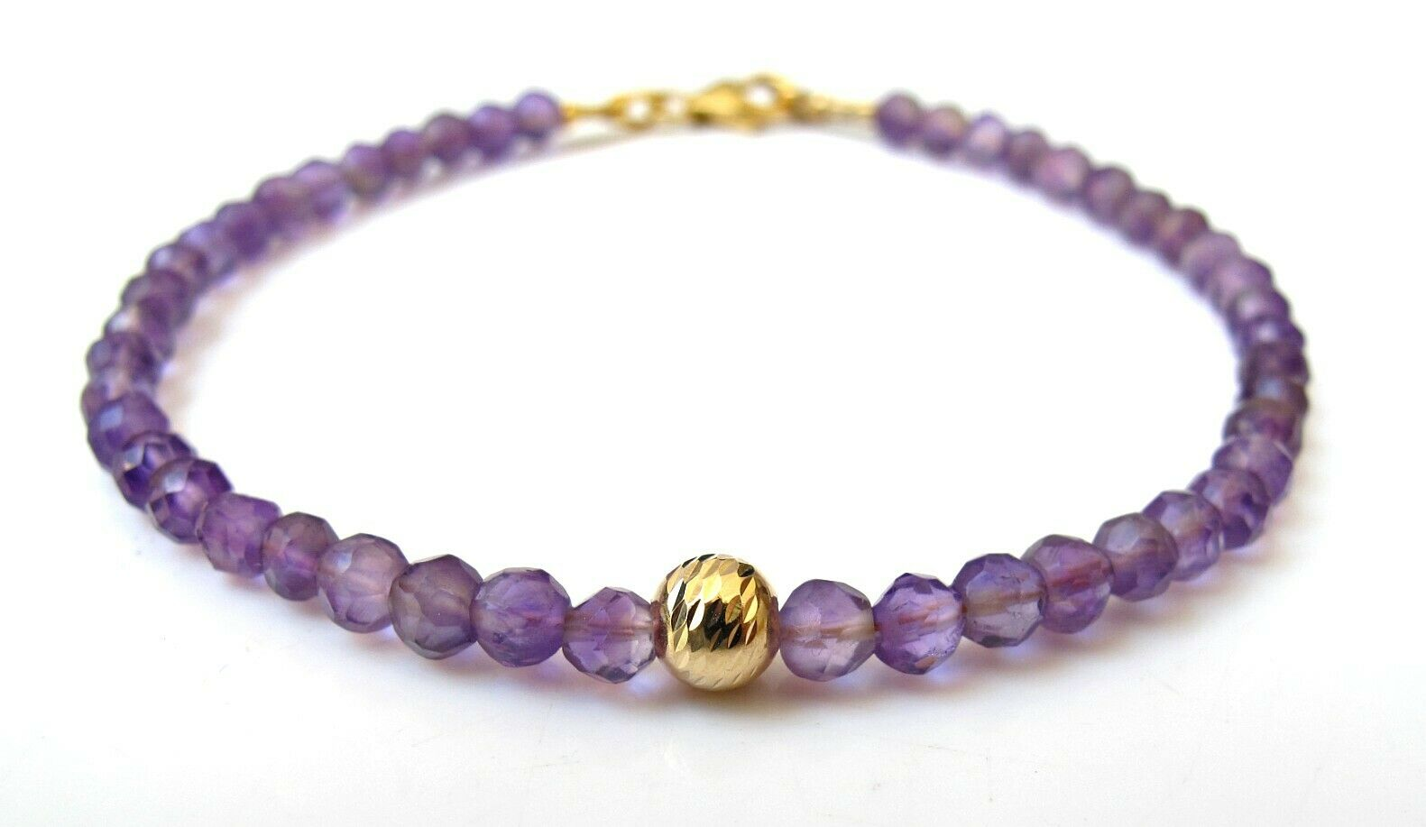 14k solid gold natural amethyst gemstone bracelet purple beads handmade genuine