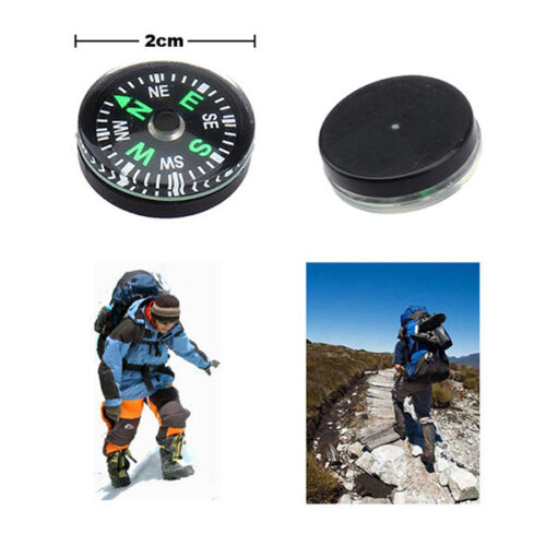 Mini Compass 20mm Button Scouts Hiking Camping Navigation Survival Outdoor Tool