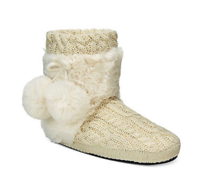 NWT Muk Luks Mukluks Women's Ivory Coralee Boot Slippers Booties XL 11-12 Warm