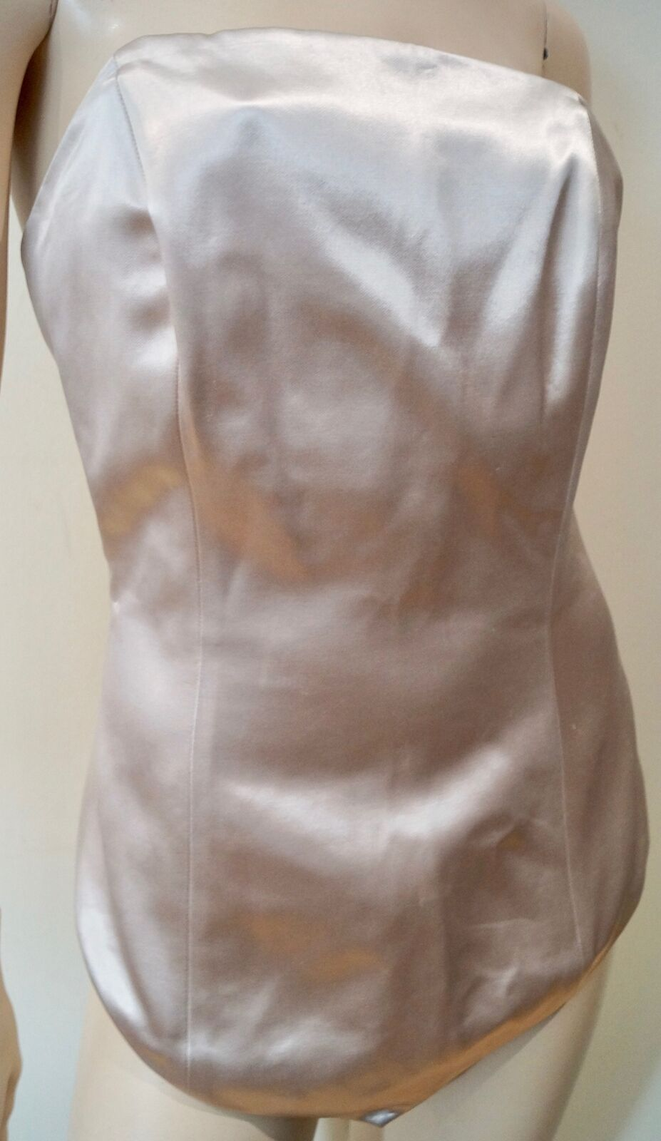 MAISON MARTIN MARGIELA Pale Gold Cream Sheen Evening Corset Top 42 UK10 BNWT