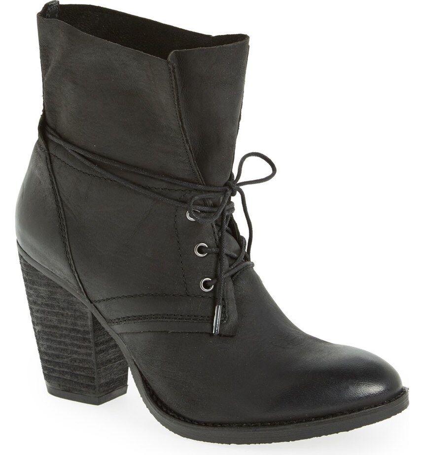 NEW STEVE MADDEN BLACK RAVINA LEATHER ANKLE BOOTS Schuhe SZ 10