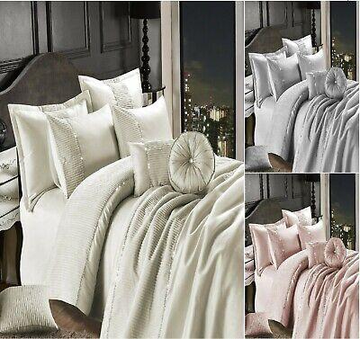 Luxuries CASSANDRA EMBROIDERED Coral Pink Duvet Quilt Cover Set.Or Bedspread Set