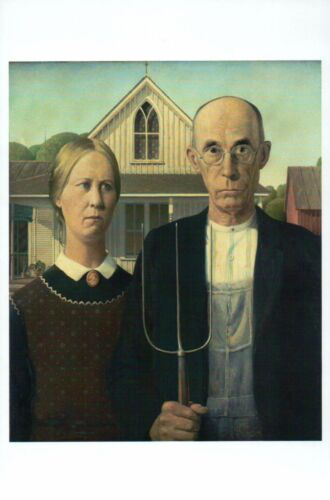 Modern Postcard American Gothic by Grant Wood US Classic Art Painting Card -