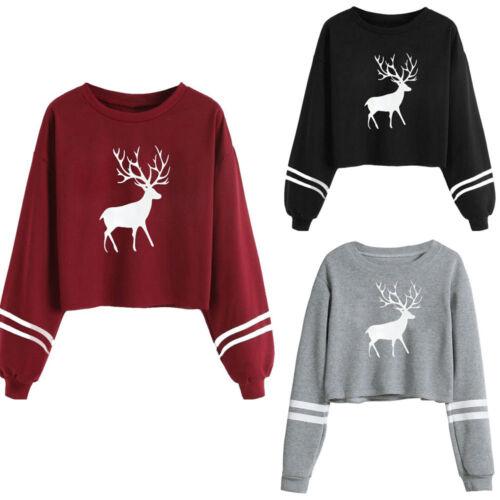 Women Xmas Deer Casual Long Sleeve T Shirt Tops Blouse Casual Pullover Petite