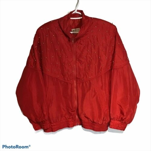 Vintage Bogari Silk Red Bomber Jacket With Beads - image 1