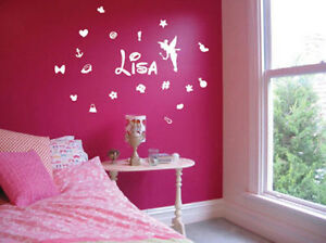 Personalised-Name-Butterfly-Flower-kids-tinkerbell-mickey-mouse-Wall-Stickers