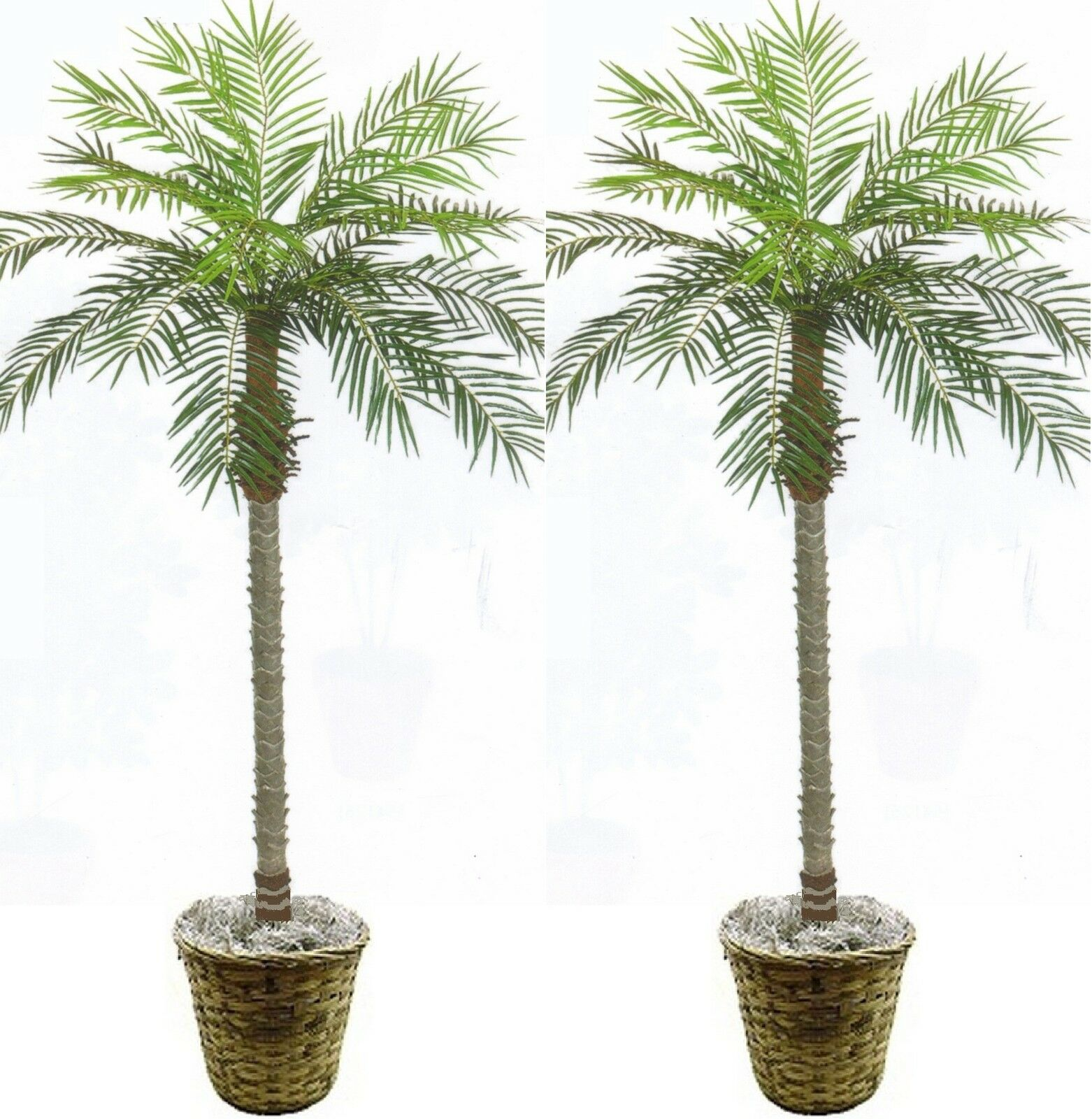 2 Artificial Phoenix Palm Tree 7' Plant Porch In Basket Pot Areca Topiary Sago