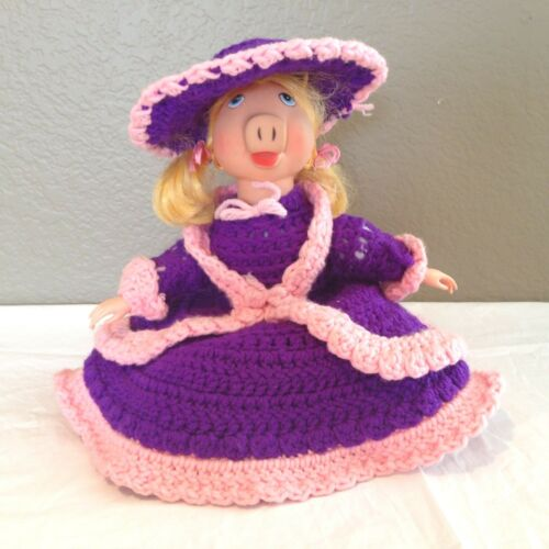 Vintage Blonde Haired Vinyl Miss Piggy Doll with Crocheted Dress and Hat12""