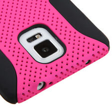 For Samsung Galaxy Note 4 Heavy Duty HYBRID Silicone Rubber Hard Case Cover Pink
