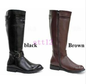 Mens Military Boots Equestrian Leather Motor Boots Knee High Ridding Boot Shoes