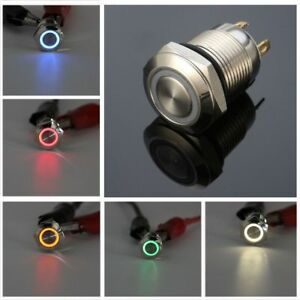 12mm 12v led power push button switch momentary waterproof metal sl