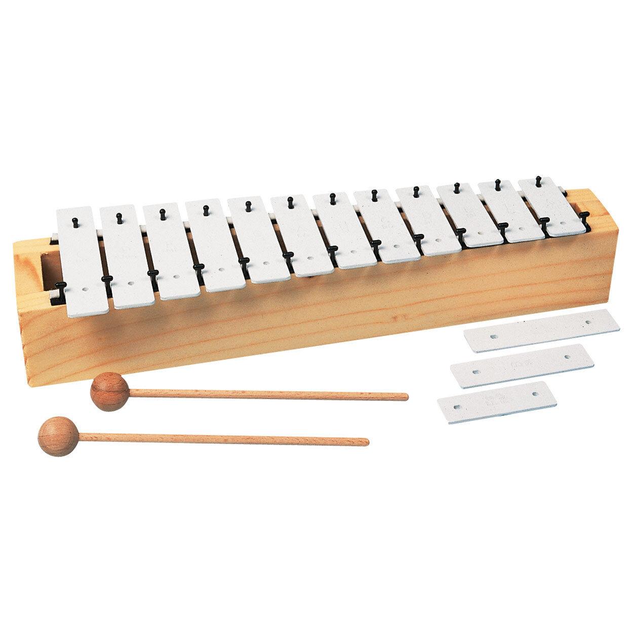 Metallophon, Xylophon mit 12 Klangplatten und 2 Schlägeln für Kinder