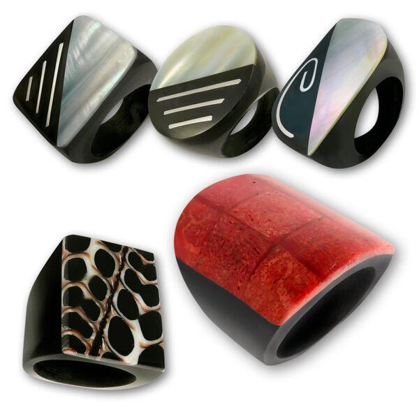 Damen Ring Design Perlmutt Koralle Muschel Goa Schmuck Horn Holzringe