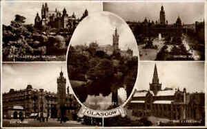 Postcard-Scotland-Schottland-GLASGOW-1951-Multi-view-ua-The-Cross-George-Sq