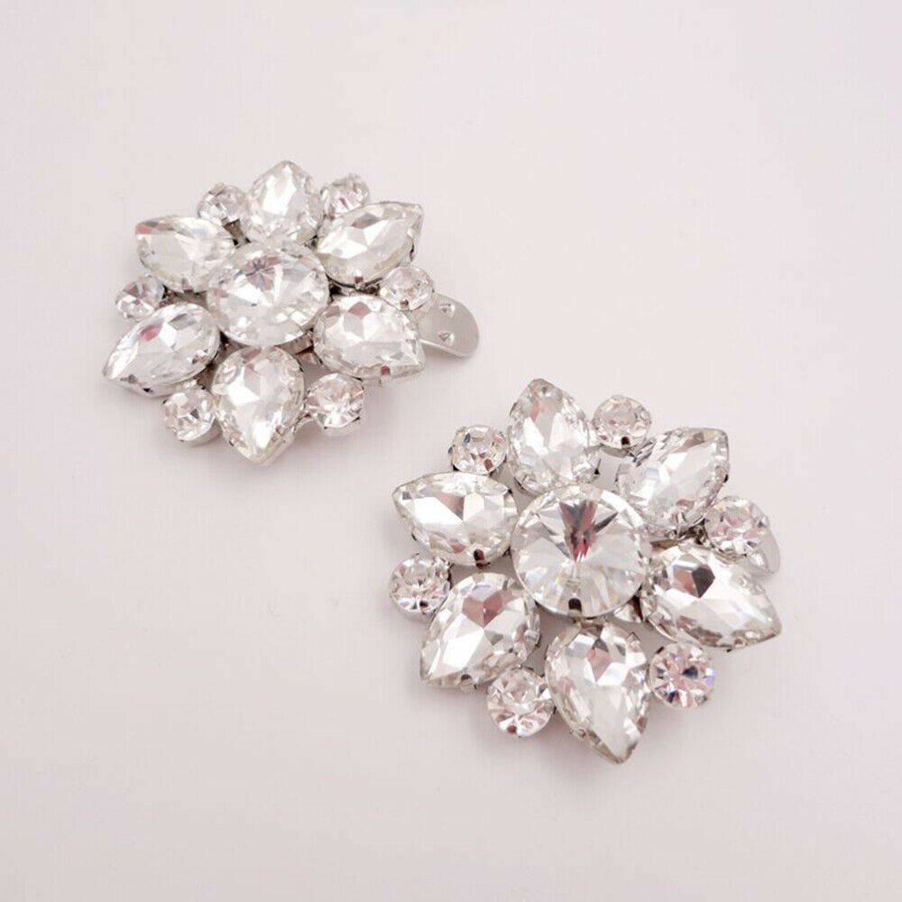 1 Pair Shoe Buckles Rhinestone Shiny Shoe Clip DIY Accessories for Party