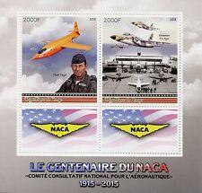 Congo 2015 MNH NACA Nat Advisory Committee Aeronautics 2v M/S Aviation Stamps