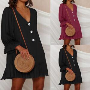 Plus-Size-Women-Holiday-Beach-Long-Sleeve-Dress-V-Neck-Mini-Tunic-Smock-Shirt-UK